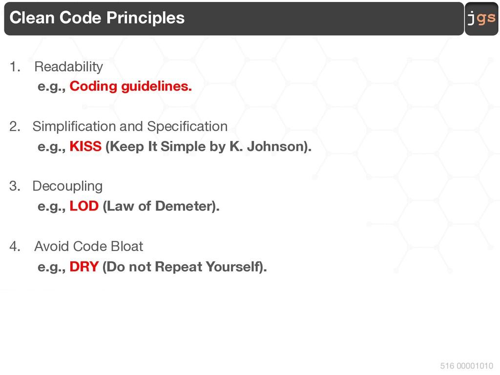 jgs 516 00001010 Clean Code Principles 1. Reada...
