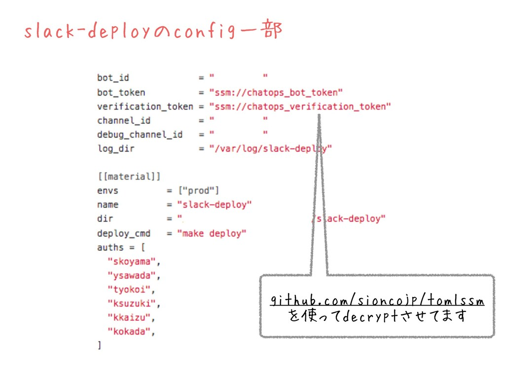 slack-deployのconfig一部 github.com/sioncojp/tomls...