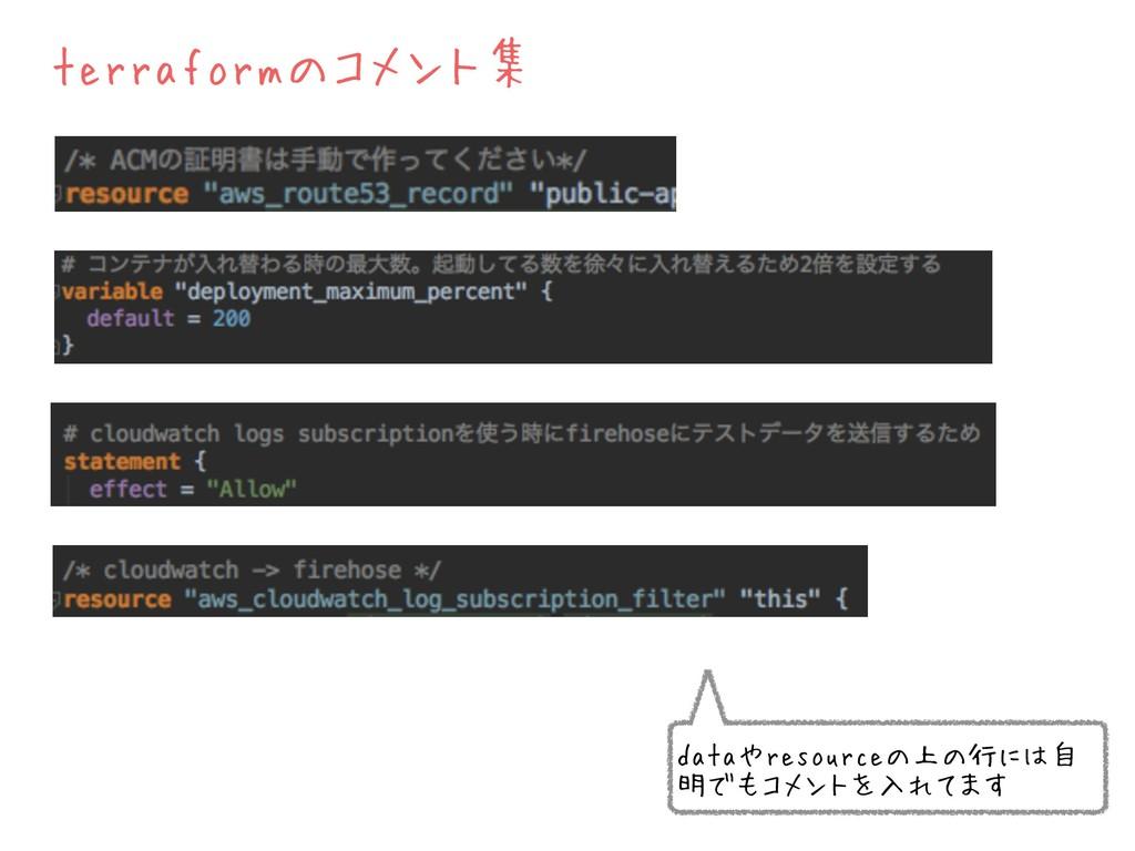 terraformのコメント集 dataやresourceの上の行には自 明でもコメントを入れ...