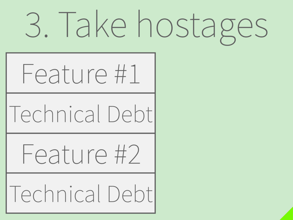 3. Take hostages Feature #1 Feature #2 Technica...