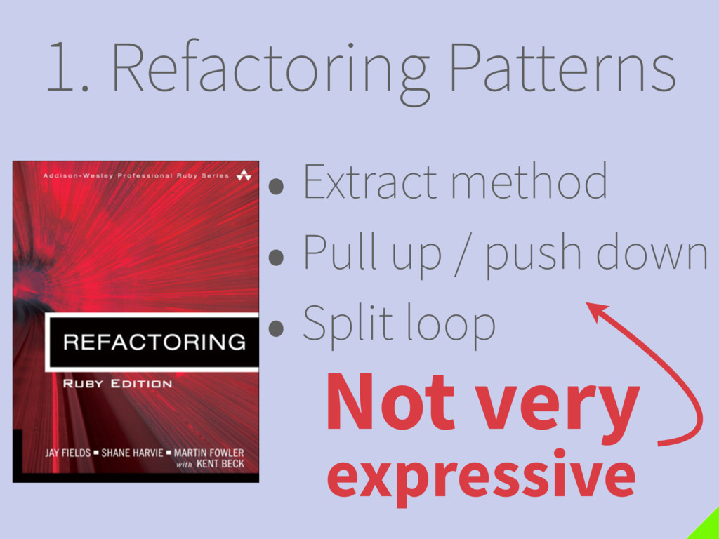 1. Refactoring Patterns Not very expressive • E...