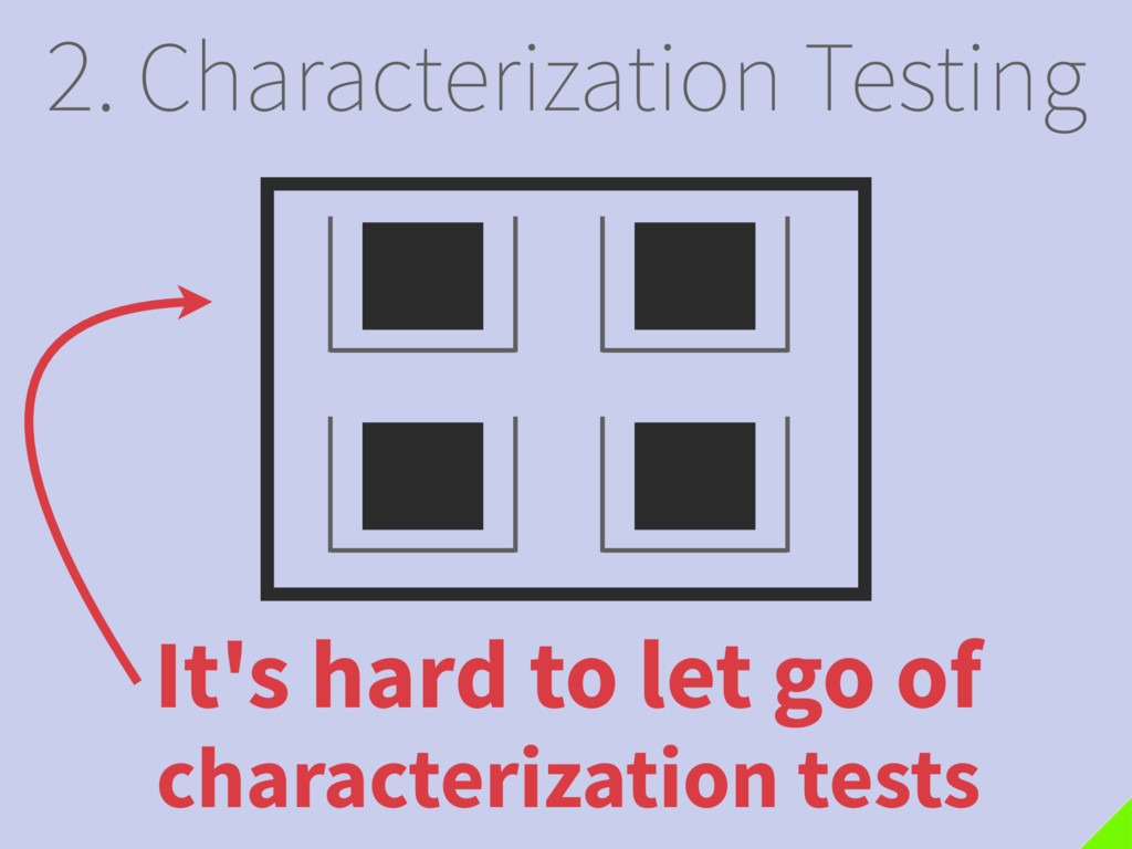 2. Characterization Testing It's hard to let go...