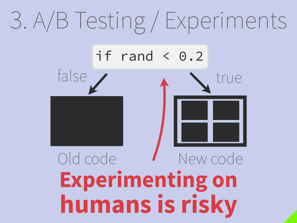 3. A/B Testing / Experiments Old code New code ...