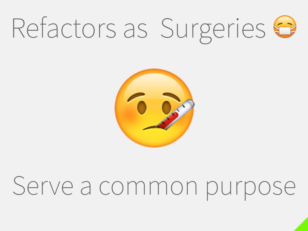 Refactors as Surgeries  Serve a common purpose