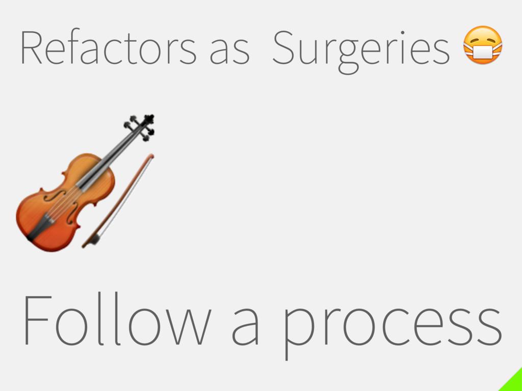Refactors as Surgeries  Follow a process