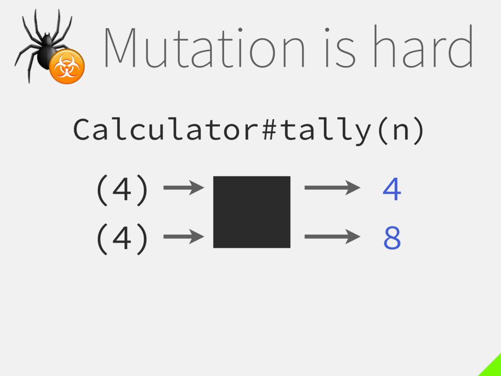 Mutation is hard Calculator#tally(n) (4) 4  ☣ (...