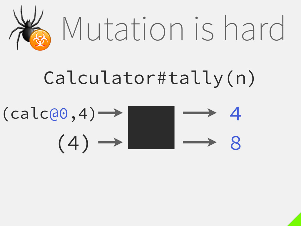 Mutation is hard Calculator#tally(n) 4  ☣ (4) 8...