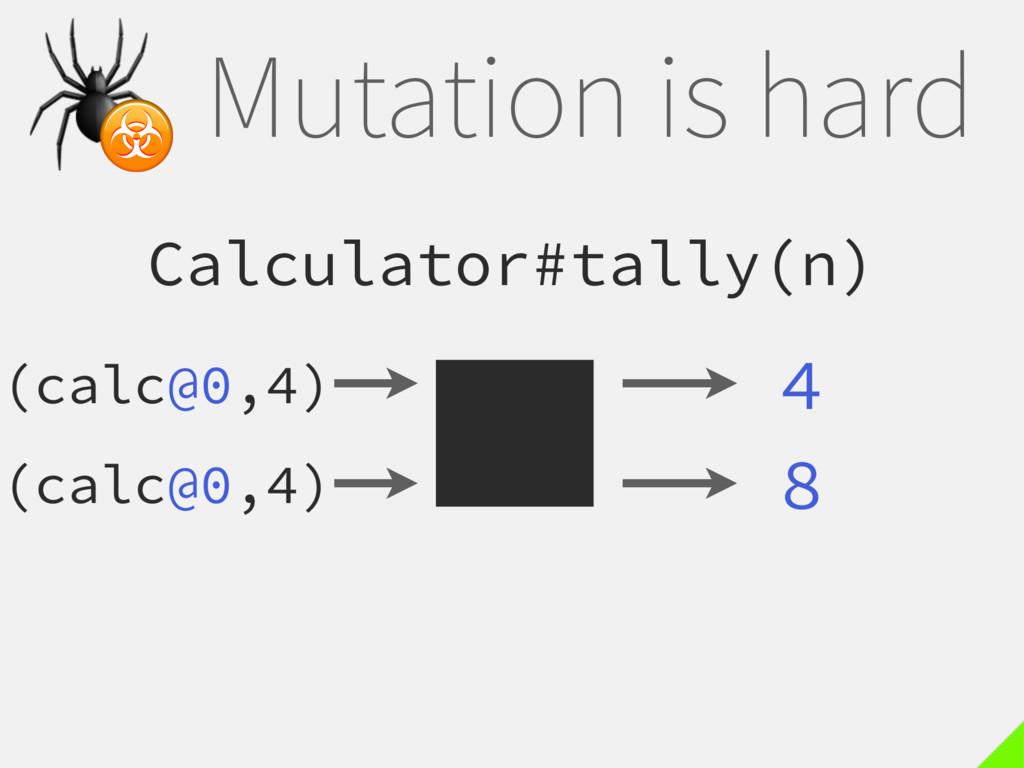 Mutation is hard Calculator#tally(n) 4  ☣ 8 (ca...