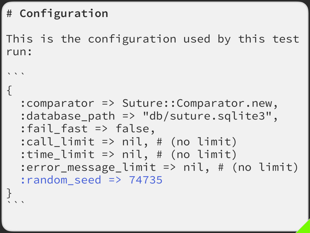 # Configuration This is the configuration used ...