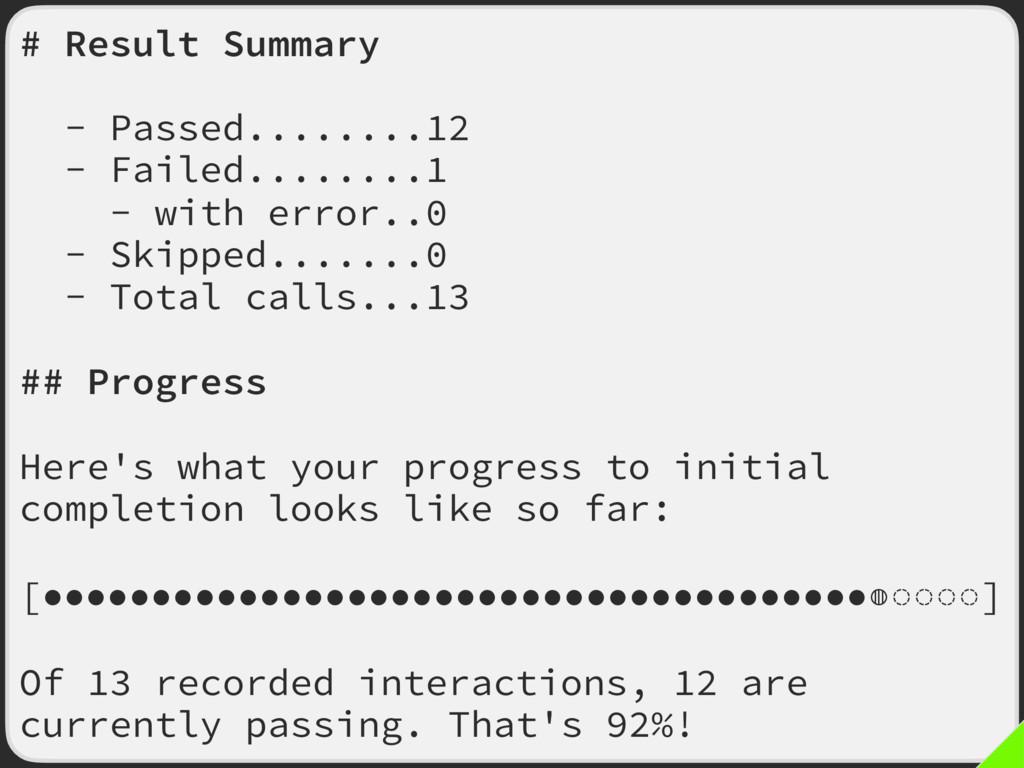 # Result Summary - Passed........12 - Failed......