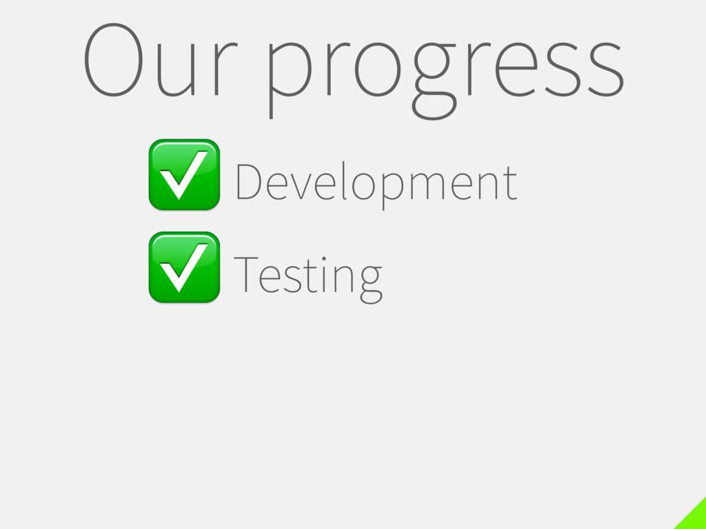 ✅Development ✅Testing Our progress