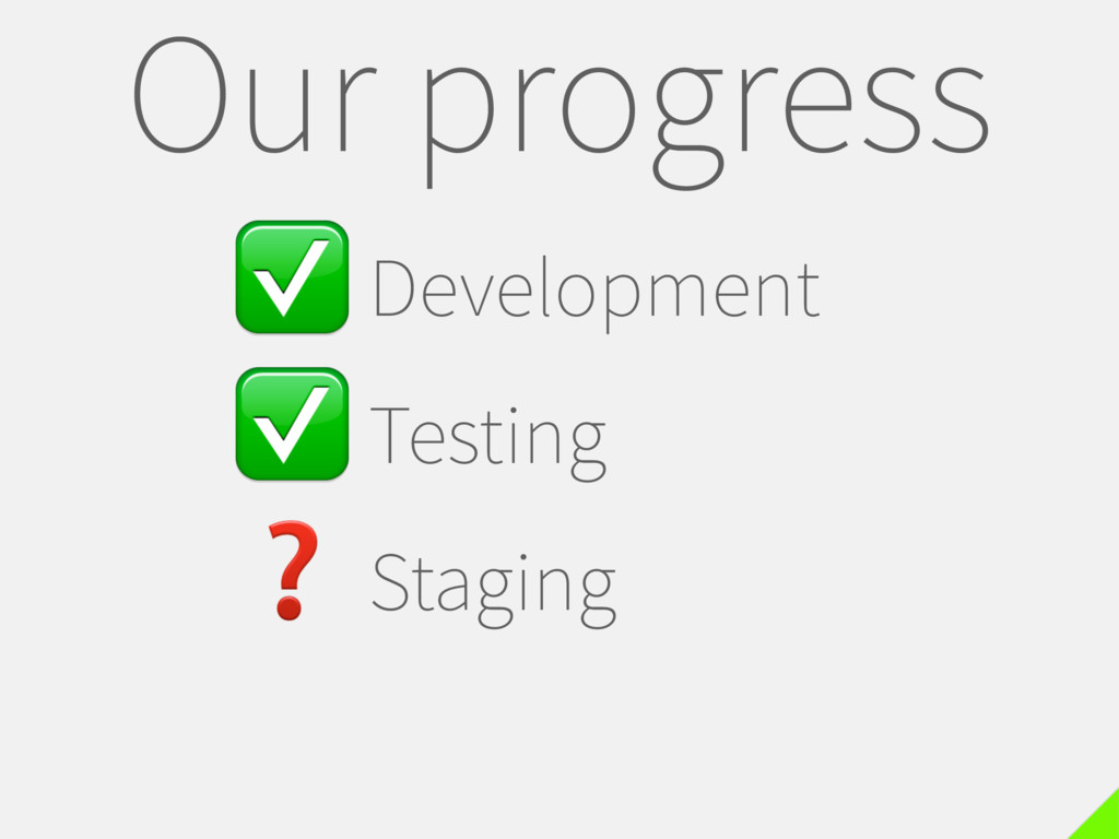 ✅Development ✅Testing ❓Staging Our progress