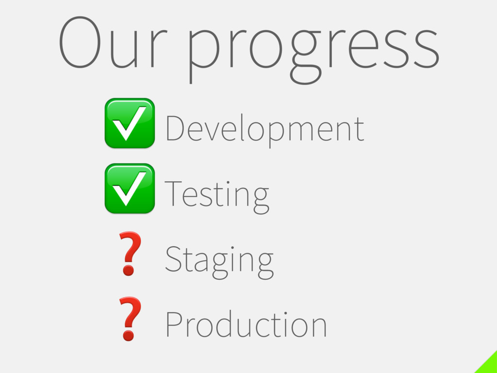 ✅Development ✅Testing ❓Staging ❓Production Our ...