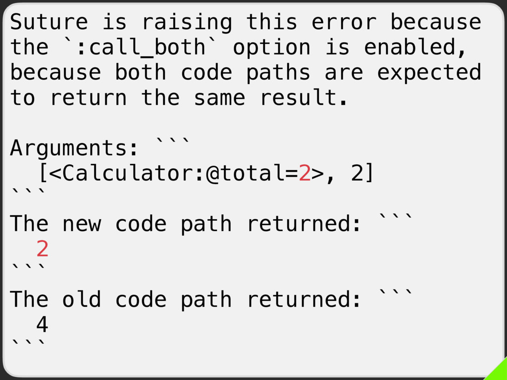 Suture is raising this error because the `:call...