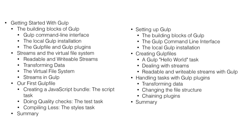 • Getting Started With Gulp • The building bloc...