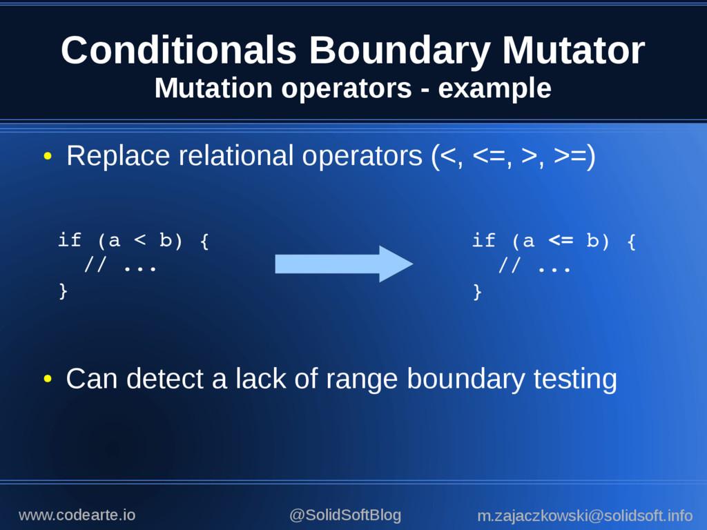 Conditionals Boundary Mutator Mutation operator...