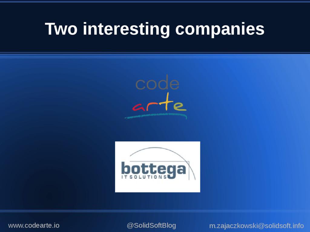 Two interesting companies @SolidSoftBlog m.zaja...