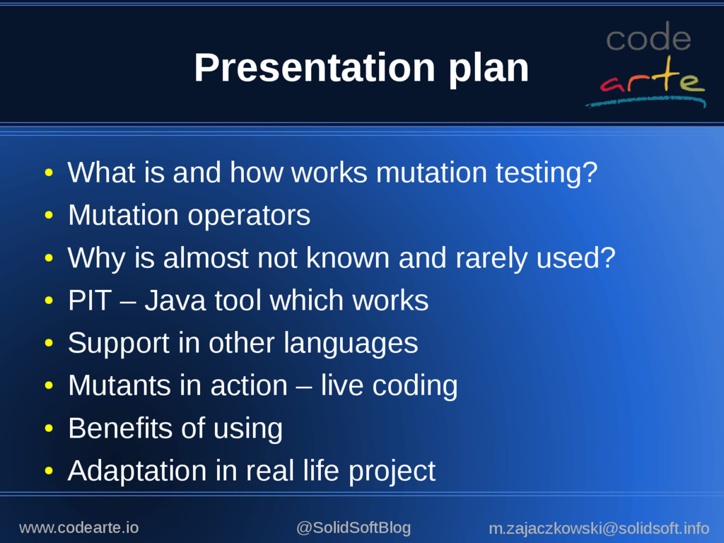 Presentation plan ● What is and how works mutat...