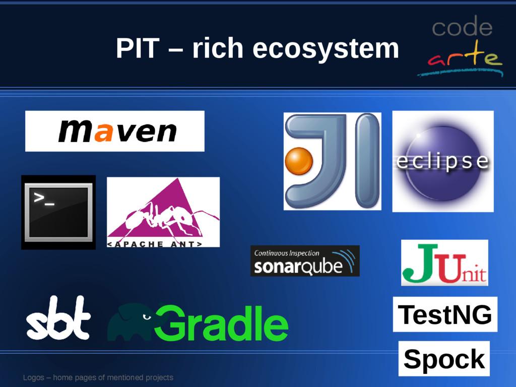 PIT – rich ecosystem TestNG Spock Logos – home ...