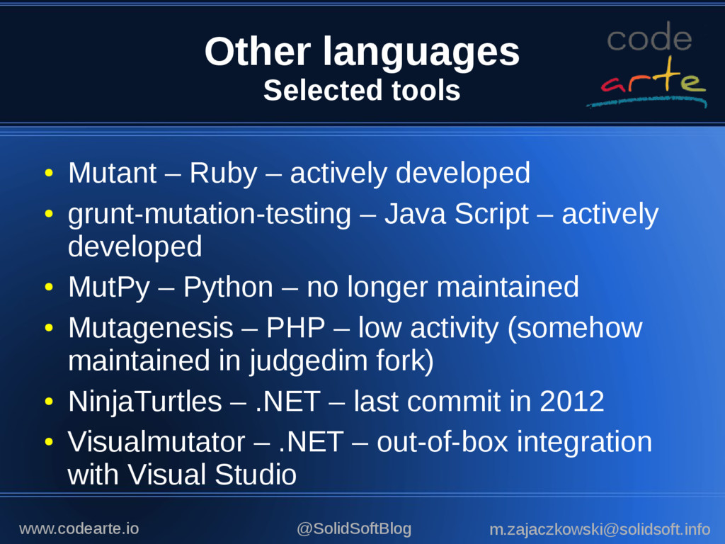 Other languages Selected tools ● Mutant – Ruby ...