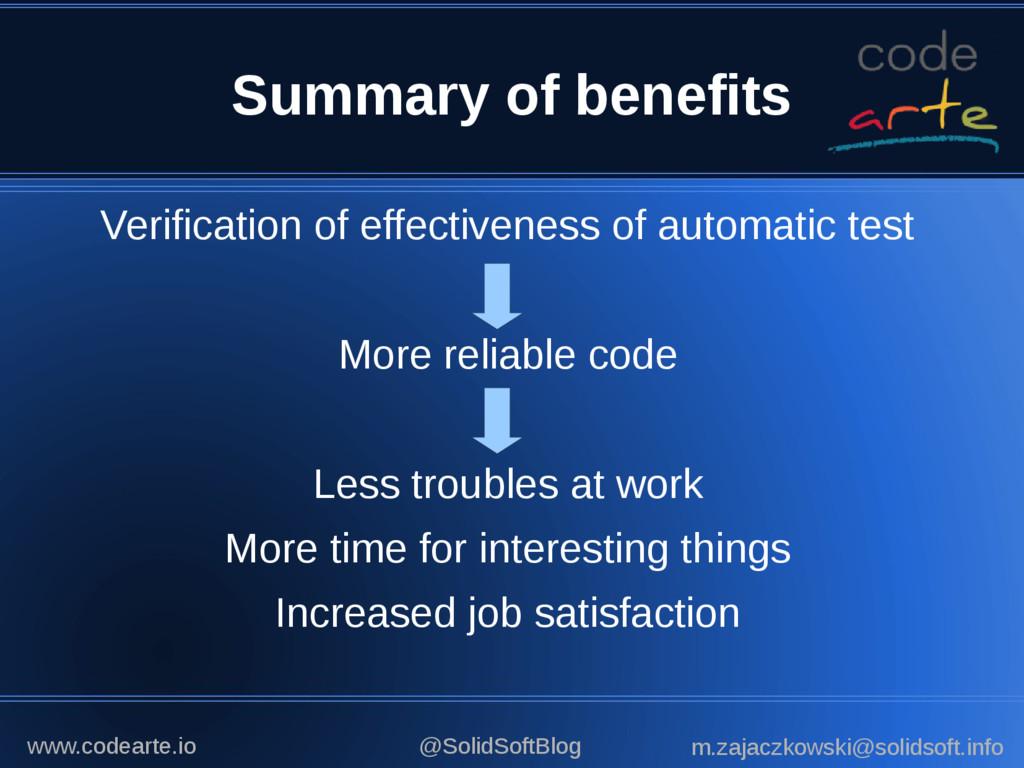 Summary of benefits Verification of effectivene...
