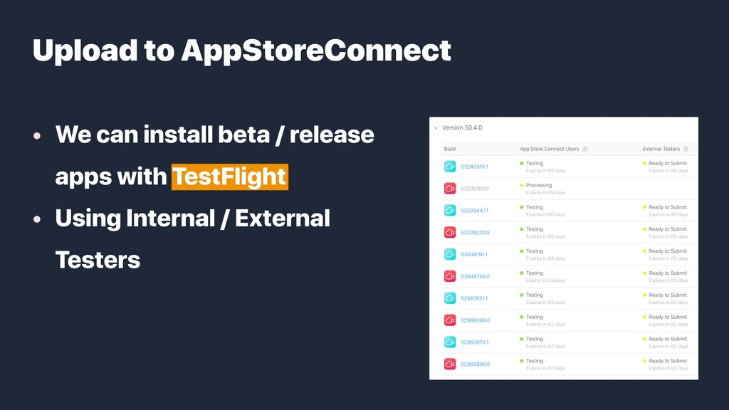 • We can install beta / release apps with TestF...