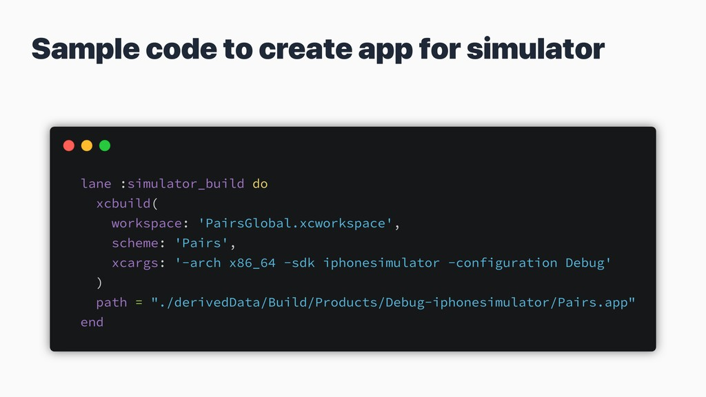 Sample code to create app for simulator