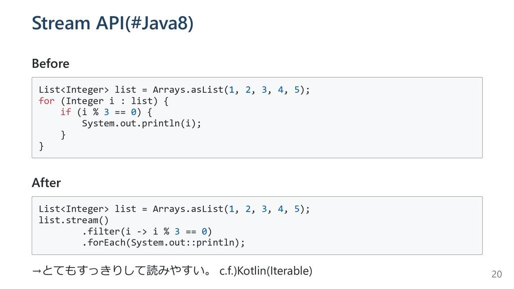 Stream API(#Java8) Before List<Integer> list = ...