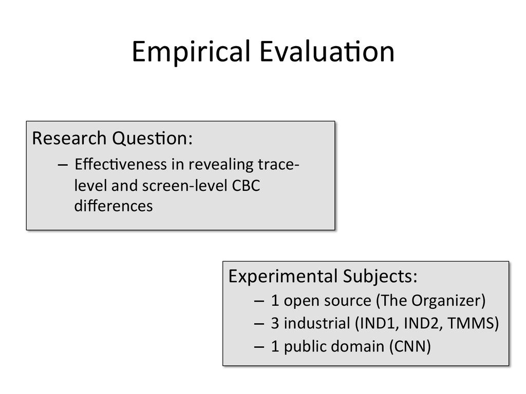 Empirical Evalua1on  Research Ques1on:...