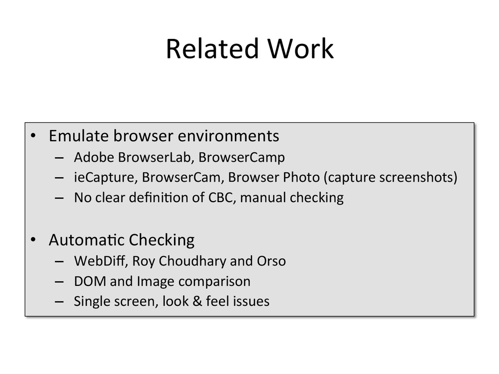 Related Work  • Emulate browser en...