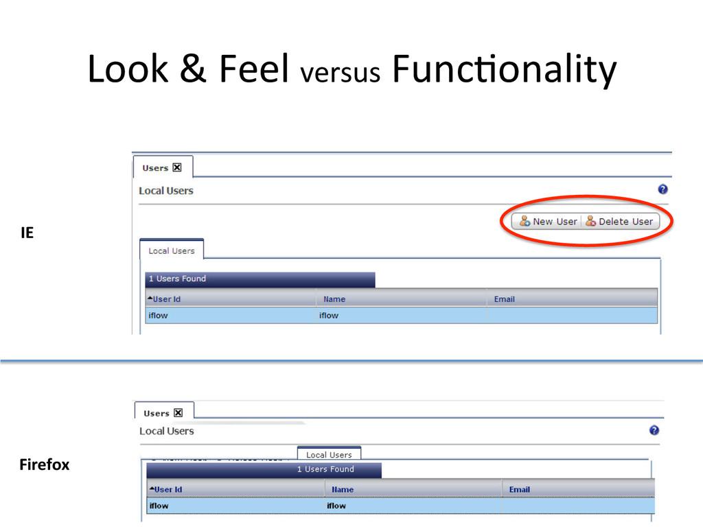 Look & Feel versus Func1onality ...