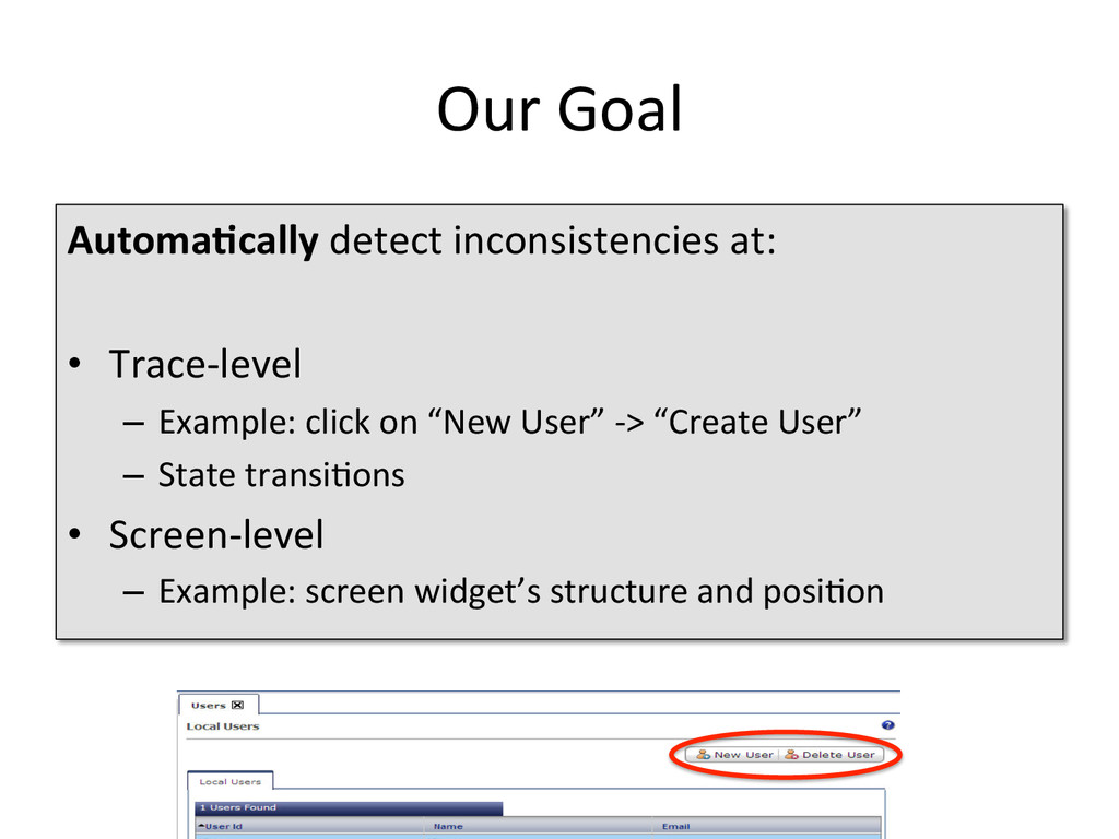 Our Goal  Automa4cally detect incon...