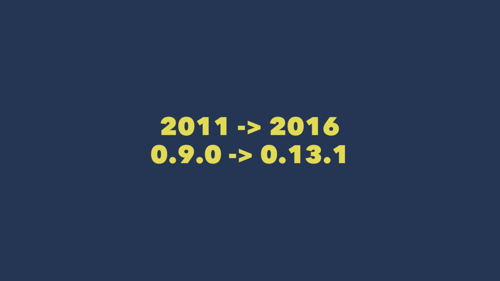 2011 -> 2016 0.9.0 -> 0.13.1