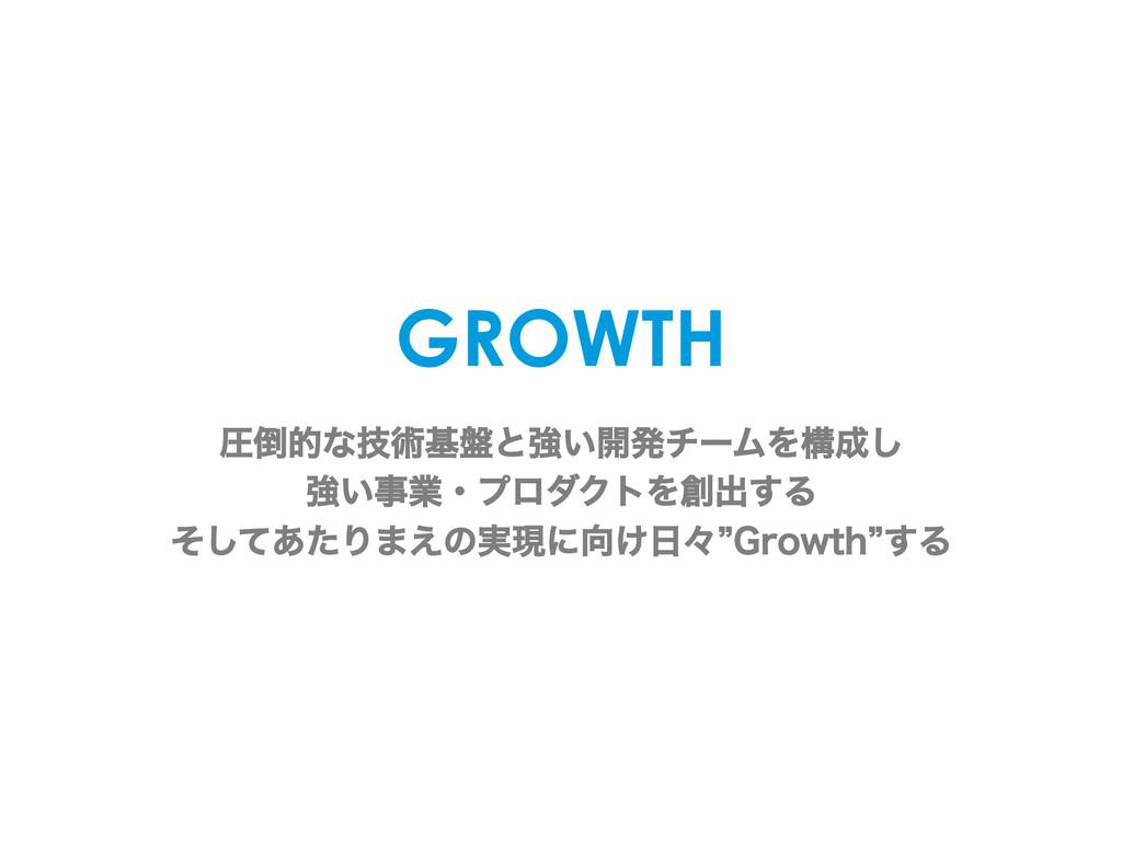 GROWTH ѹతͳٕज़ج൫ͱڧ͍։ൃνʔϜΛߏ͠ ڧ͍ۀɾϓϩμΫτΛग़͢Δ ͦ...