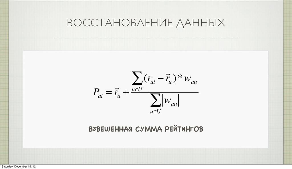 ВОССТАНОВЛЕНИЕ ДАННЫХ ВЗВЕШЕННАЯ СУММА РЕЙТИНГО...