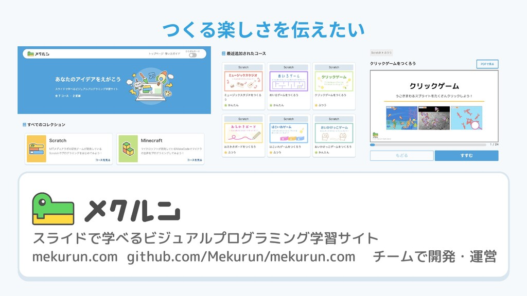 スライドで学べるビジュアルプログラミング学習サイト チームで開発・運営 mekurun.com...