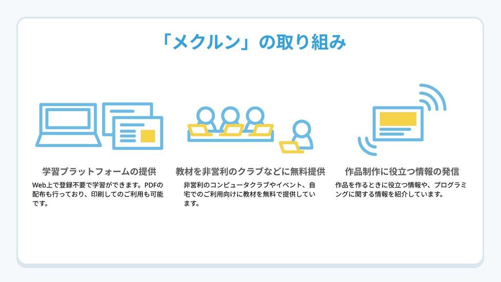「メクルン」の取り組み 学習プラットフォームの提供 教材を非営利のクラブなどに無料提供 作品制...