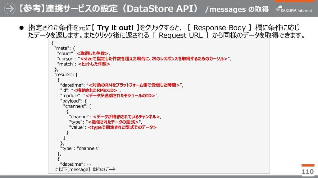 【参考】連携サービスの設定(DataStore API) /messages の取得 ⚫ 指定...