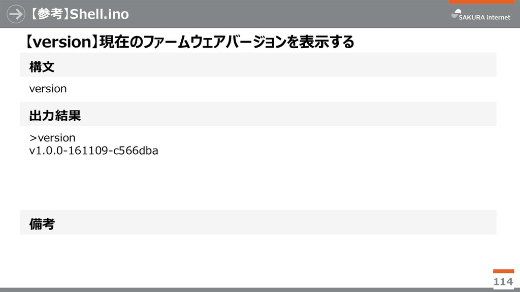 【参考】Shell.ino 114 構文 【version】現在のファームウェアバージョンを表...