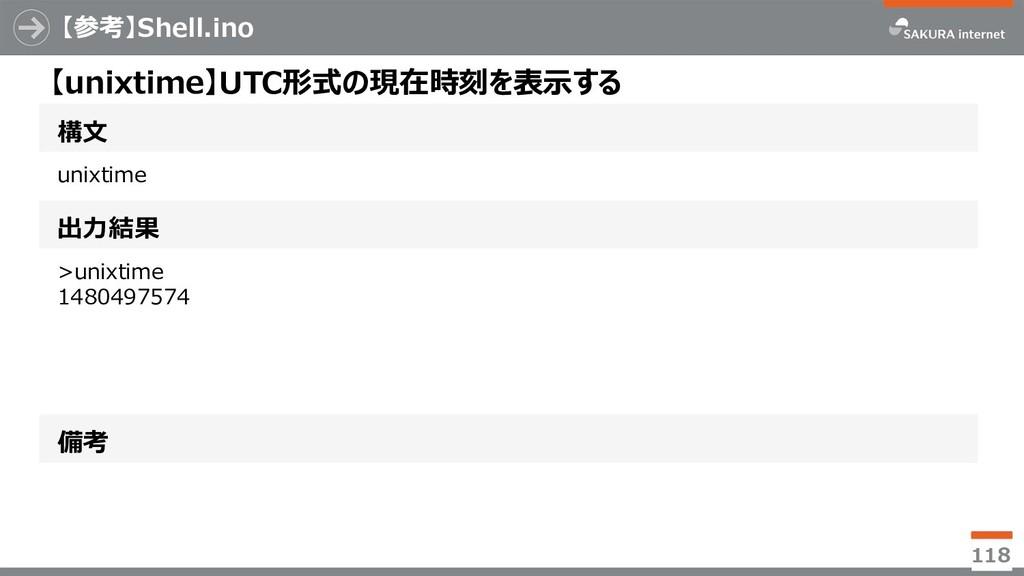 【参考】Shell.ino 118 構文 【unixtime】UTC形式の現在時刻を表示する ...