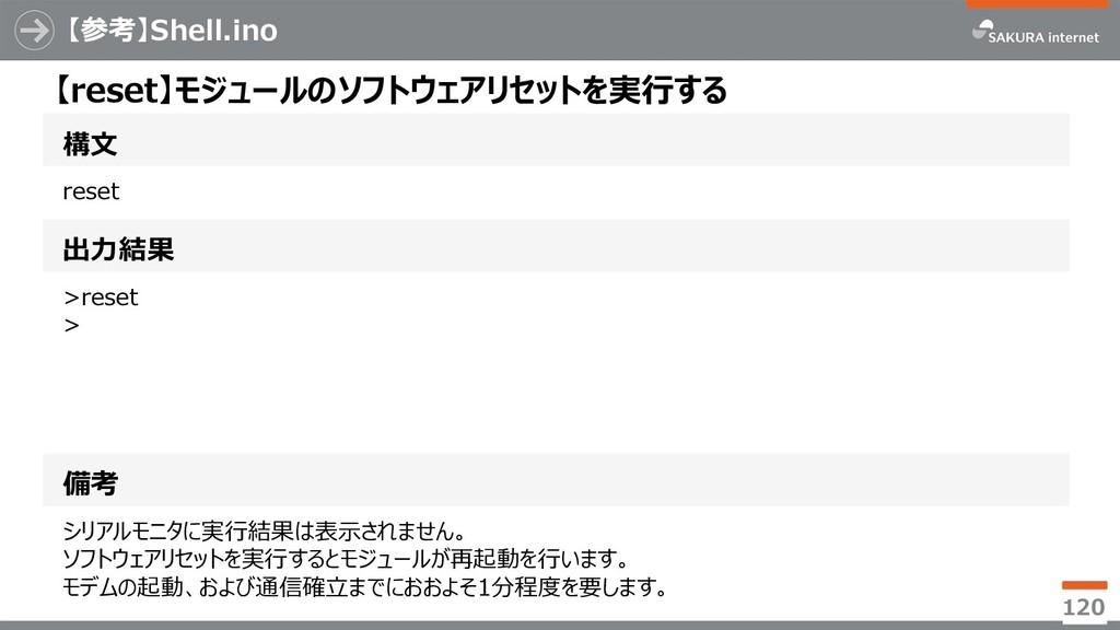 【参考】Shell.ino 120 構文 【reset】モジュールのソフトウェアリセットを実行...