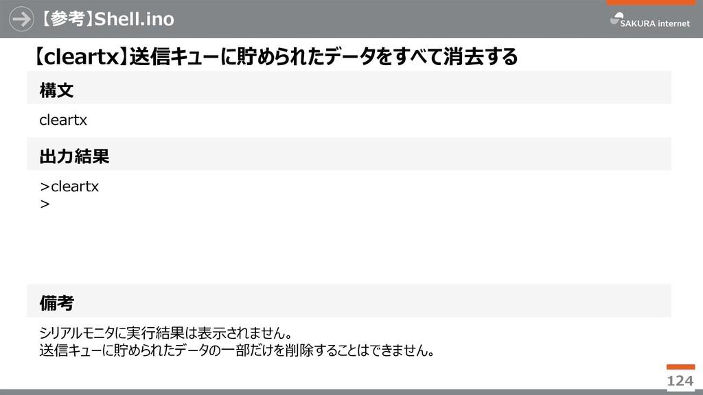 【参考】Shell.ino 124 構文 【cleartx】送信キューに貯められたデータをすべ...