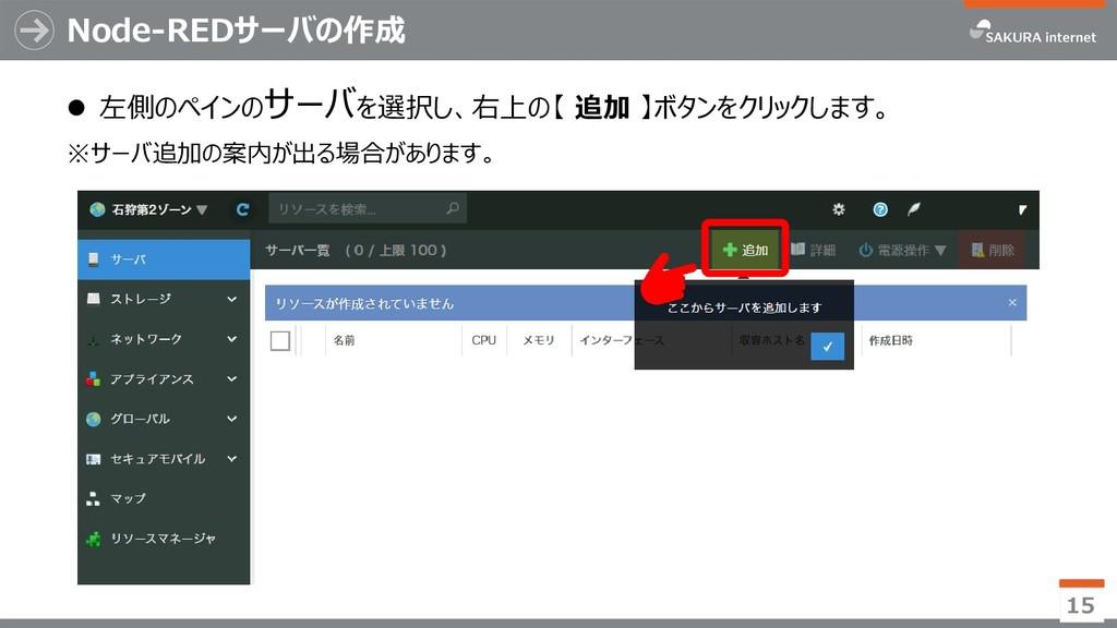 Node-REDサーバの作成 ⚫ 左側のペインのサーバを選択し、右上の【 追加 】ボタンをクリ...