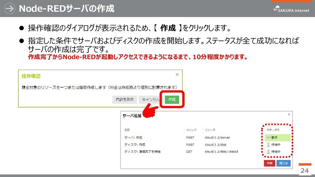 Node-REDサーバの作成 ⚫ 操作確認のダイアログが表示されるため、【 作成 】をクリック...