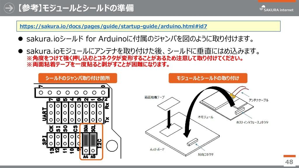 【参考】モジュールとシールドの準備 ⚫ sakura.ioシールド for Arduinoに付...