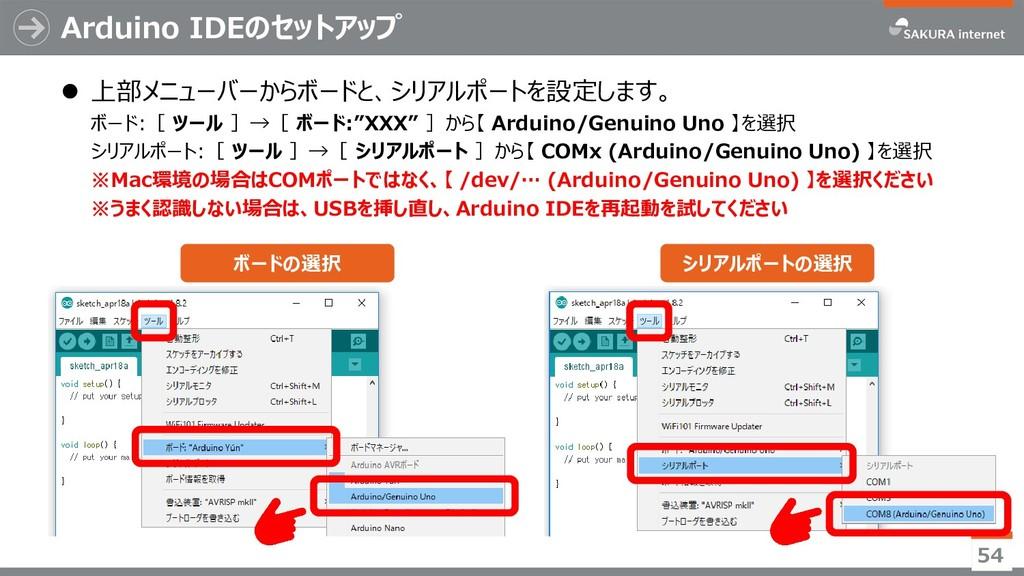 Arduino IDEのセットアップ ⚫ 上部メニューバーからボードと、シリアルポートを設定し...