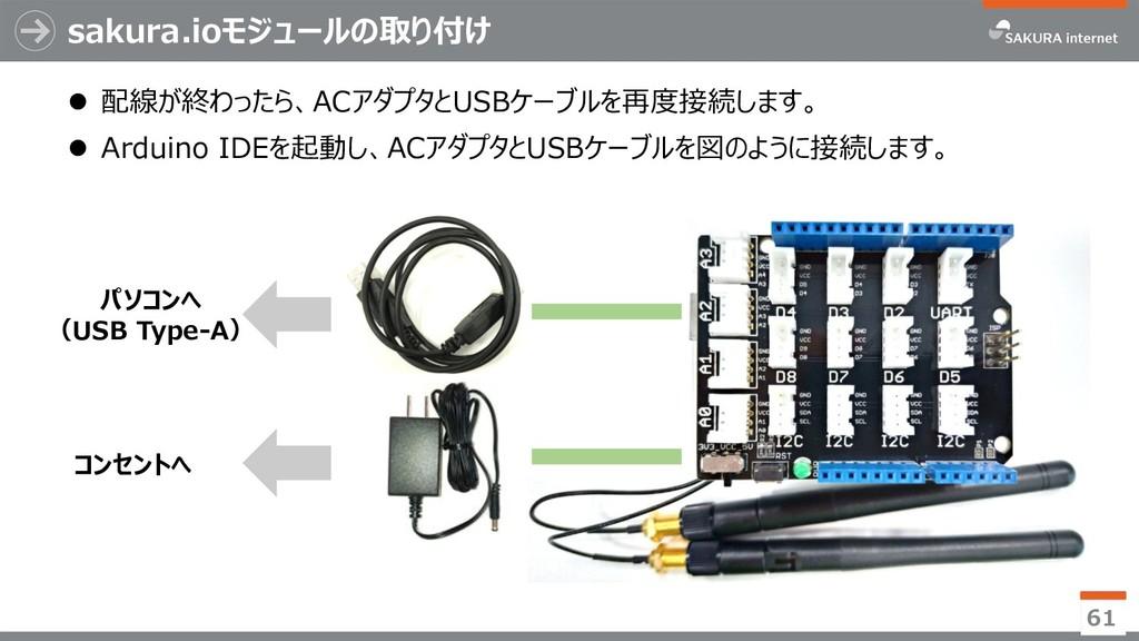 sakura.ioモジュールの取り付け ⚫ 配線が終わったら、ACアダプタとUSBケーブルを再...