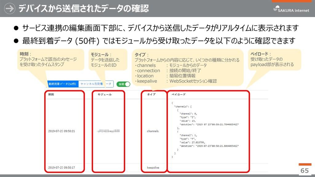 デバイスから送信されたデータの確認 ⚫ サービス連携の編集画面下部に、デバイスから送信したデー...