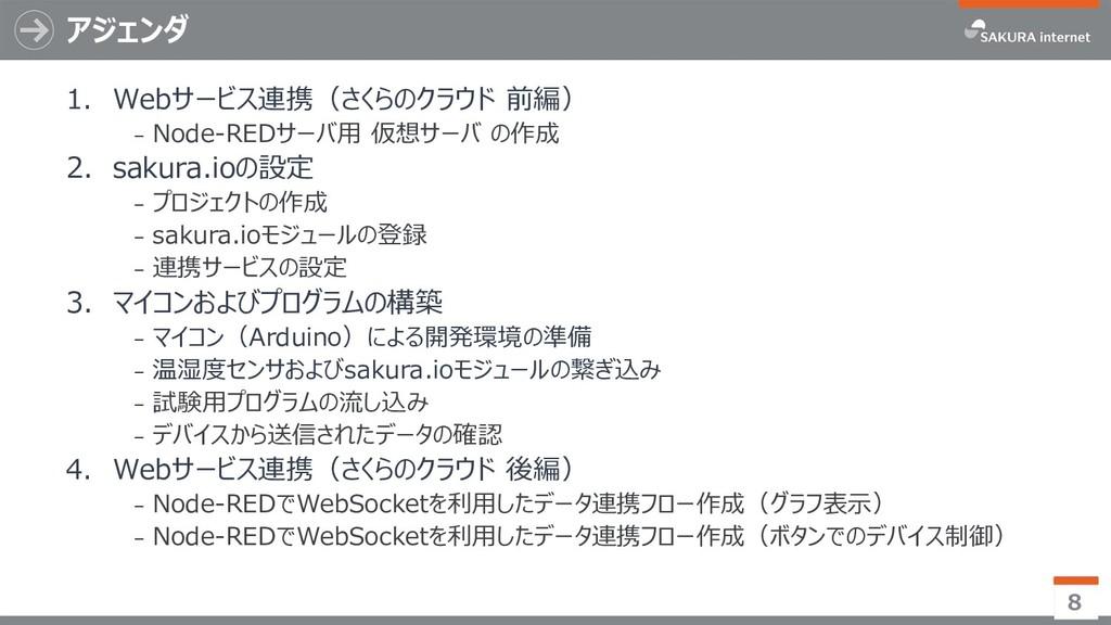 アジェンダ 1. Webサービス連携(さくらのクラウド 前編) ₋ Node-REDサーバ用 ...