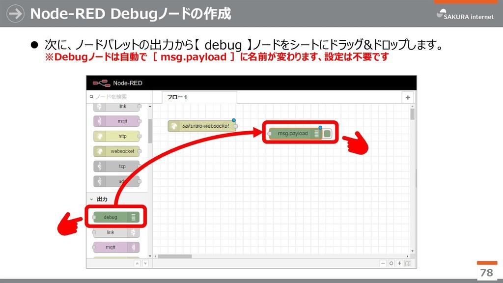 Node-RED Debugノードの作成 ⚫ 次に、ノードパレットの出力から【 debug 】...